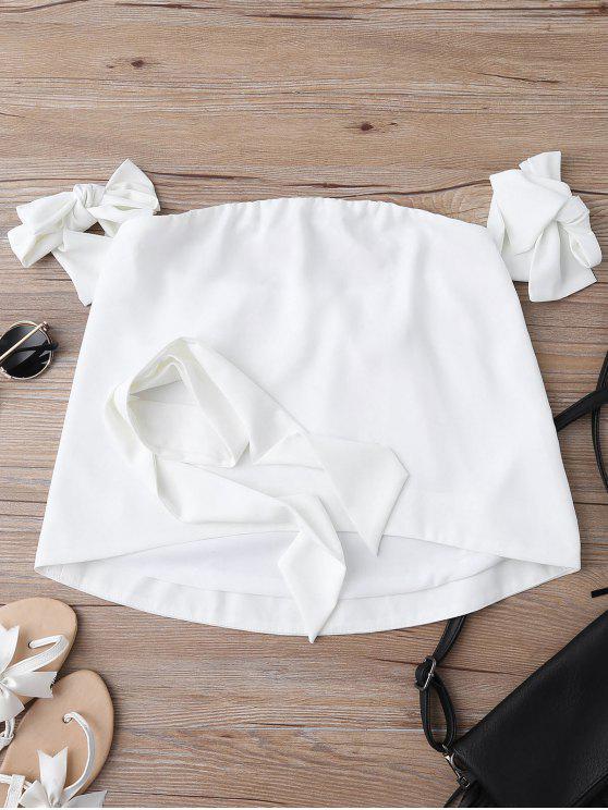 women Off Shoulder Choker Tie Sleeve Blouse - WHITE M