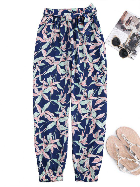 chic Floral Print Tapered Pants With Tie Belt - COLORMIX M