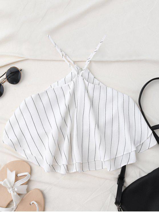 ladies Halter Striped Crop Chiffon Top - WHITE L