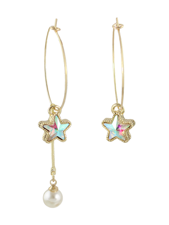 chic Asymmetric Faux Pearl Circle Star Earrings - GOLDEN