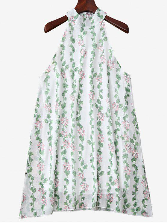 women Mandarin Collar Plant Print Sleeveless Dress - GREEN S