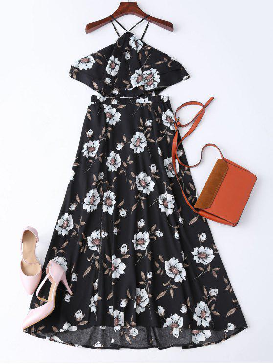 Boho Slit Floral Maxi Beach Dress - Black