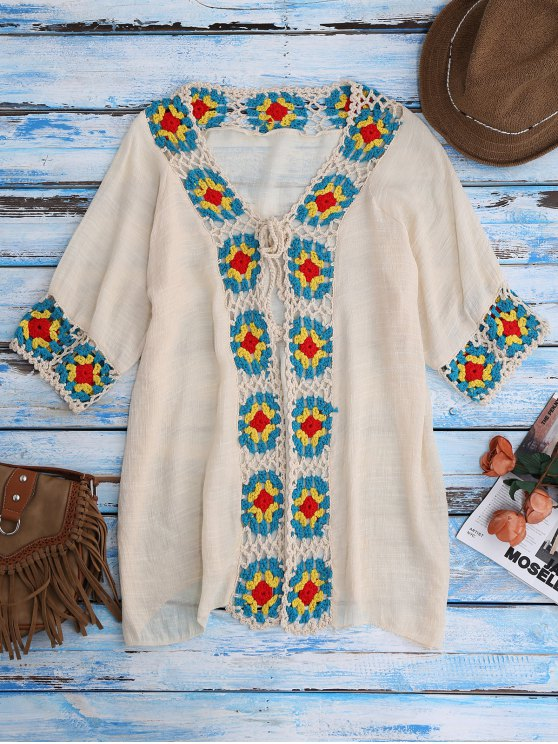 chic Crochet Panel Open Front Cover-Up - BEIGE ONE SIZE