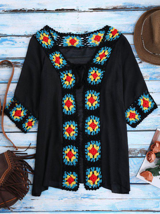 fancy Crochet Panel Open Front Cover-Up - BLACK ONE SIZE