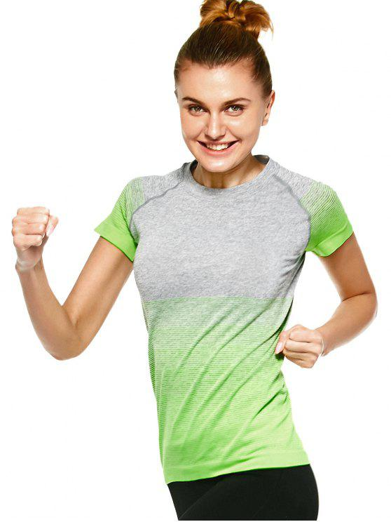hot Striped Ombre Sports T-Shirt - NEON GREEN L