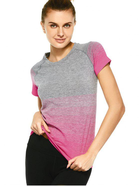 fashion Striped Ombre Sports T-Shirt - PLUM S