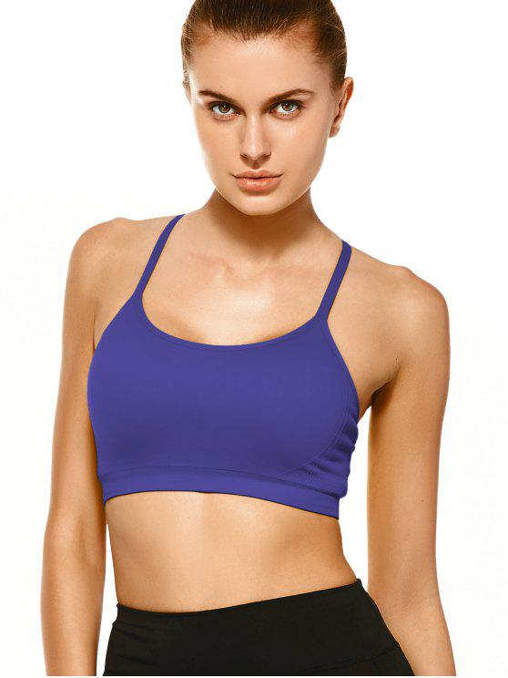 women Push Up Strappy Back Sports Bra - PURPLE L