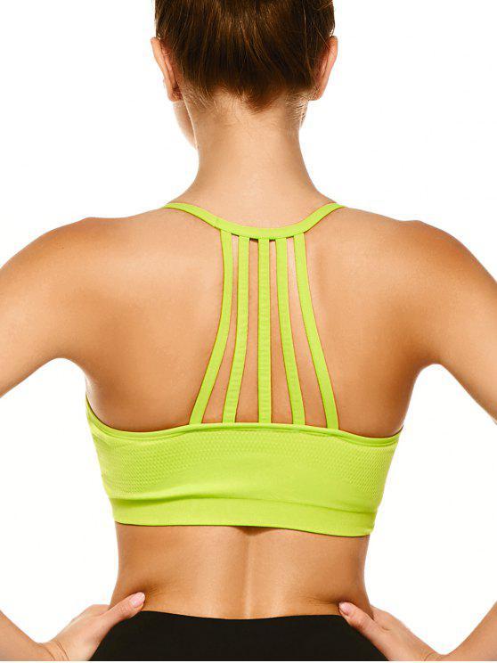 Empuja hacia arriba el sujetador de los deportes con tiras Volver - Amarillo Fluorescente L