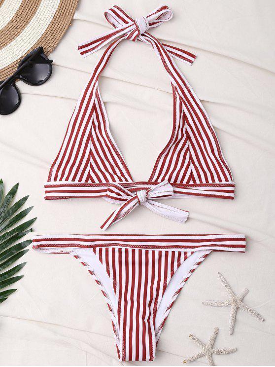 Streifen Halter Badeanzug - Rot XL