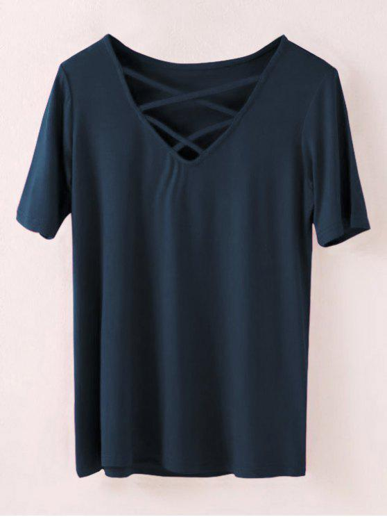 affordable Strappy T-Shirt - CADETBLUE S