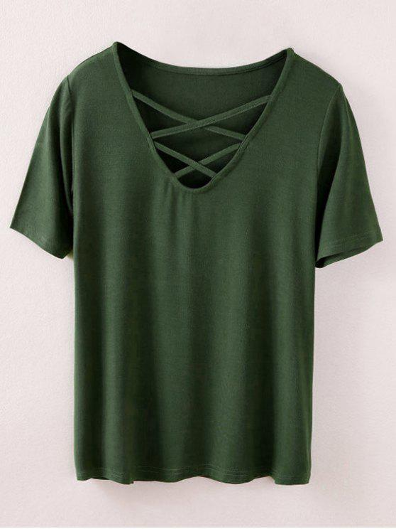 lady Strappy T-Shirt - ARMY GREEN S