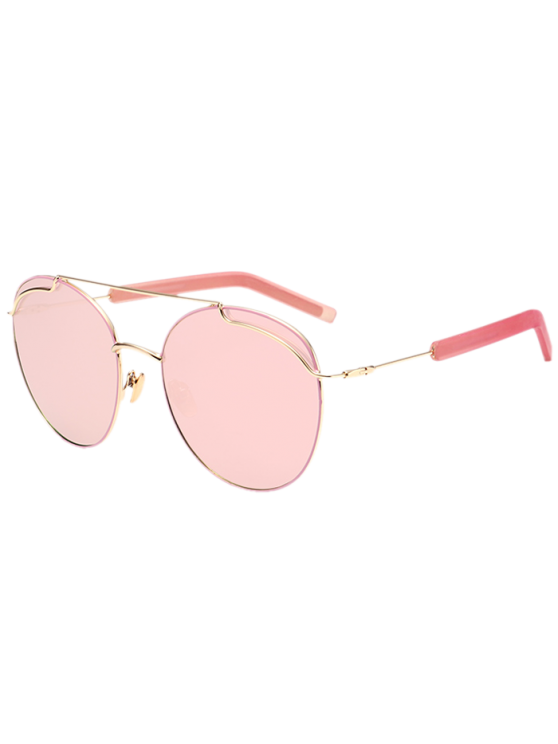 lady Anti UV Double Metallic Crossbar Sunglasses - GLOD FRAME + PINK LENS