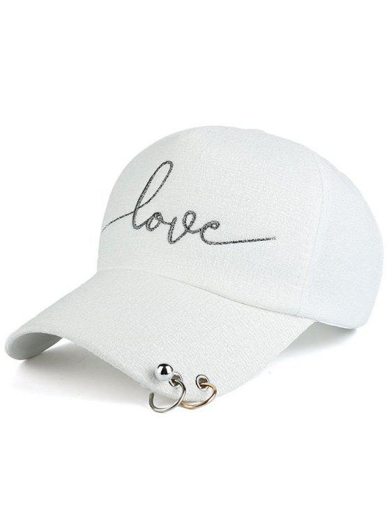 affordable Beads Metal Circle Letters Baseball Hat - WHITE