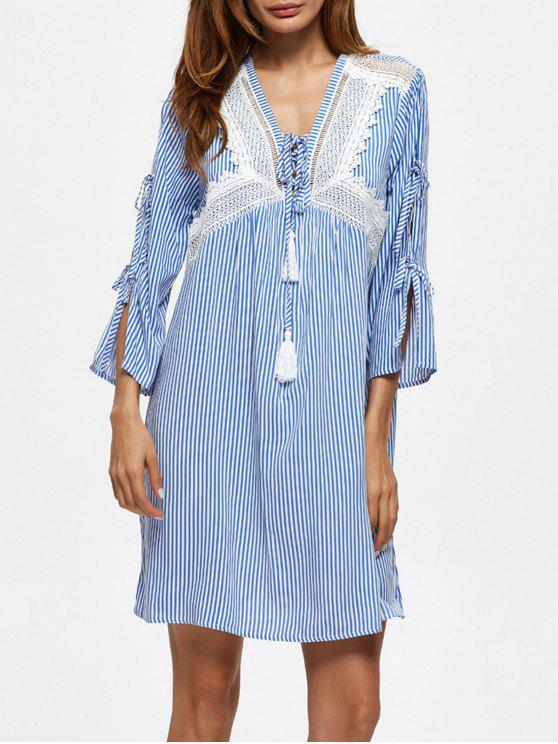 best Striped Lace Up Casual Dress - BLUE M