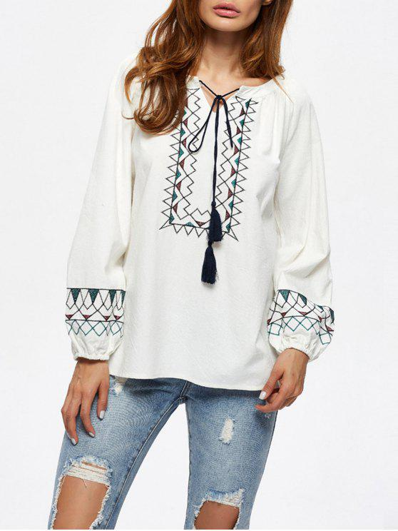 outfit String Embroidered Blouse - WHITE 2XL