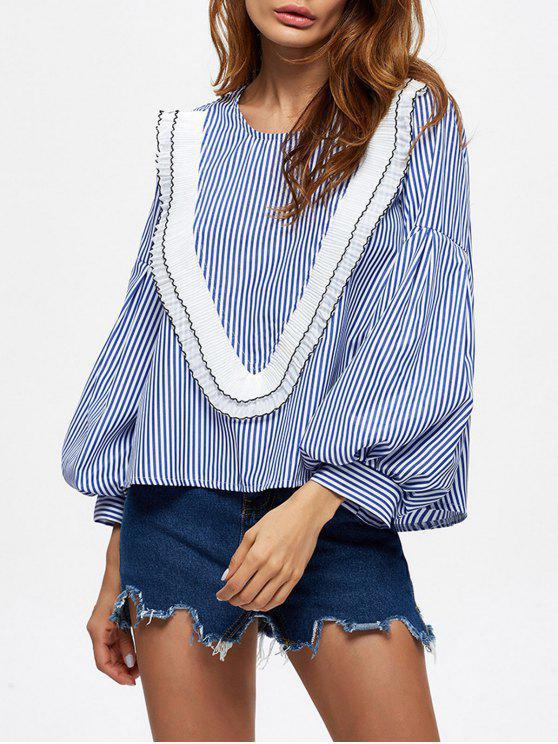 Rayas riza la blusa - Azul L