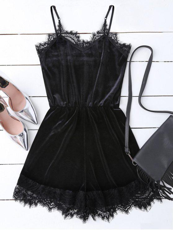 sale Slip Lace Hem Velvet Romper - BLACK M