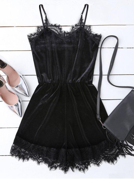 affordable Slip Lace Hem Velvet Romper - BLACK S