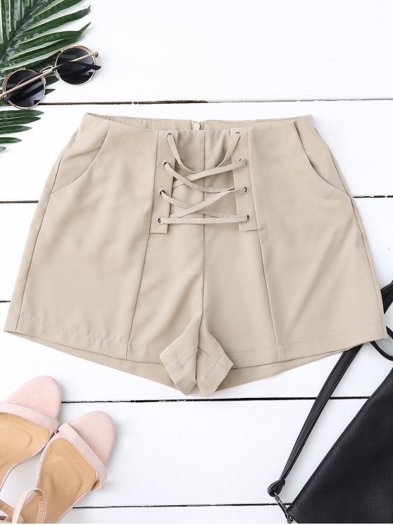High Waist Lace Up Shorts PALE PINKISH GREY: Shorts S | ZAFUL