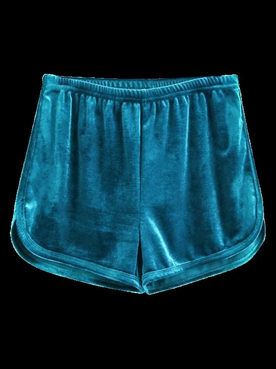unique Sporty Velvet Shorts - BLUE S