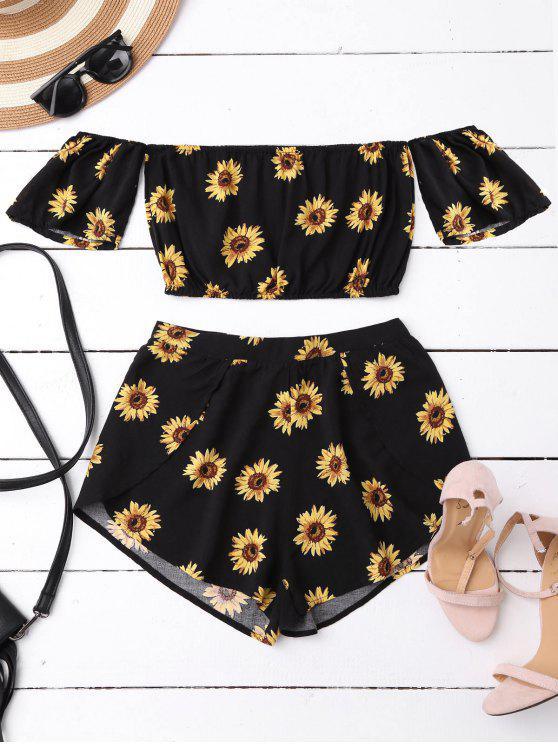 Schulterfrei Crop Top und Sonnenblumen Shorts - Schwarz L