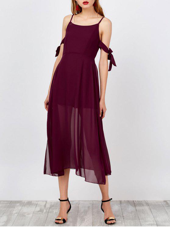 فستان بوهو حزام السباغيتي جانب الانقسام شيفون - نبيذ أحمر S