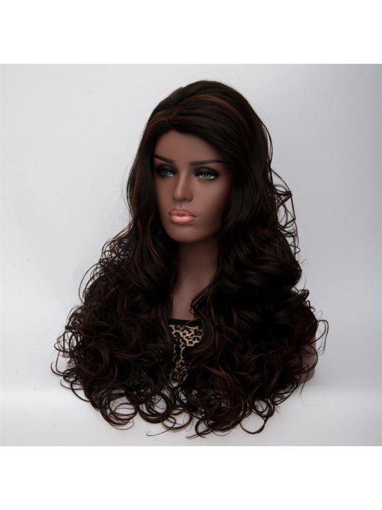 طويل الجانب فراق مجعد أسود براون المرأة الأزياء الاصطناعية شعر مستعار - أسود براون