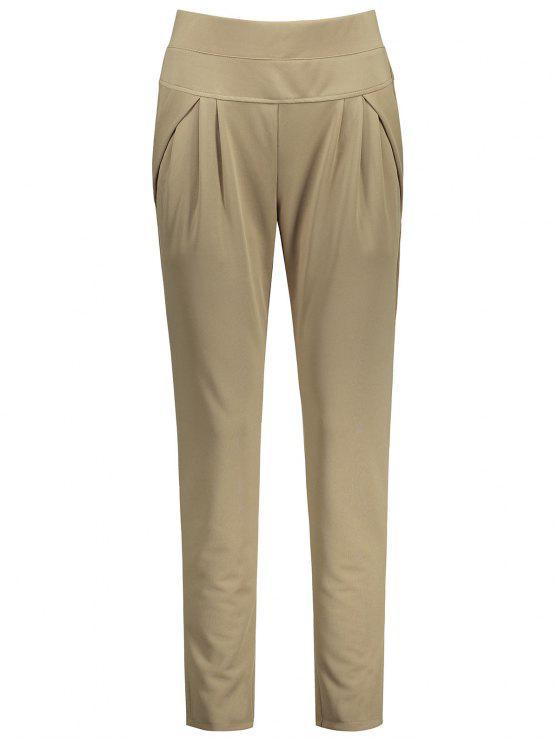 Pantallon à Taille élastique Longueur Cheville Grande Taille - Camel 4XL