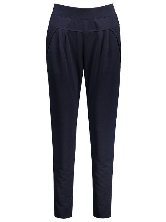 Pantallon à Taille élastique Longueur Cheville Grande Taille - Bleu Violet 3XL
