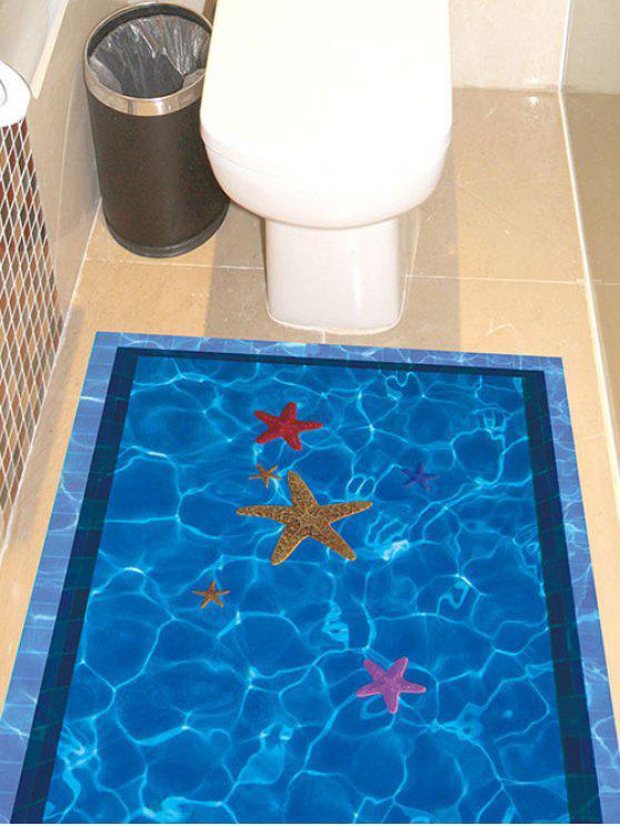 بركة سباحة مع نجم البحر نمط 3D ملصقات الكلمة - أزرق