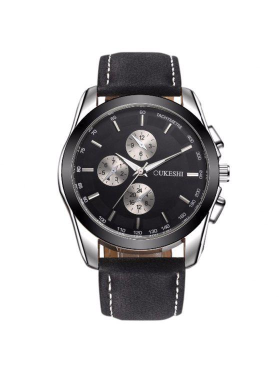 OUKESHI ساعة رسمية شريطها بجلد اصطناعي - أسود