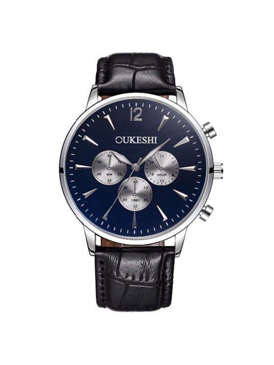 OUKESHI ساعة رسمية شريطها بجلد اصطناعي - الأزرق والأسود
