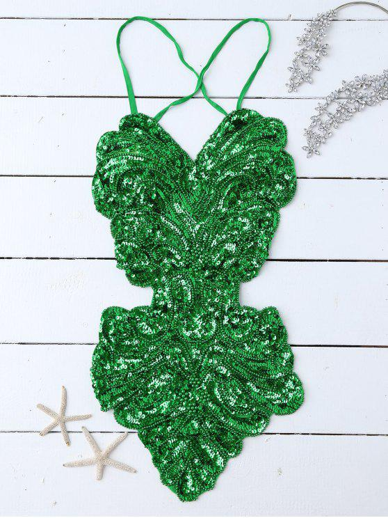 trendy Beaded Cross Back Sequins Teddies - GREEN ONE SIZE