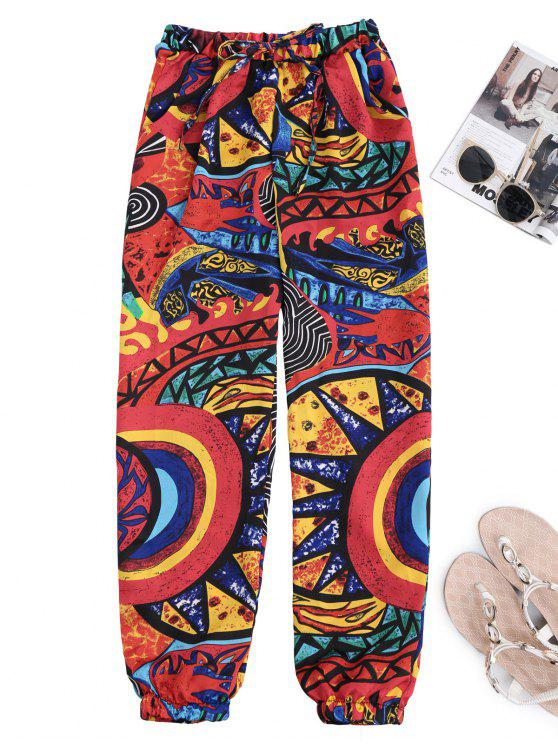 Graffiti Print Drawstring Tapered Beach Pants - Cor Mistura M