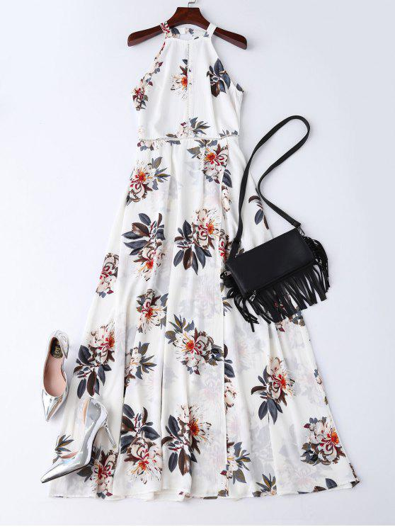hot Bohemian Floral Open Back Maxi Dress - WHITE L
