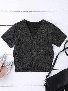 Golden Thread Wrap Front Crop Top - Black M