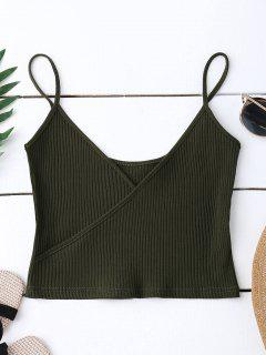Ribbed Surplice Cropped Cami Tank Top - Army Green