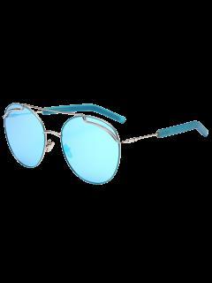 Contra Los Rayos UV Metálico Doble Barra Transversal Gafas De Sol - Marco De Plata + Lentes De Mercurio Azul