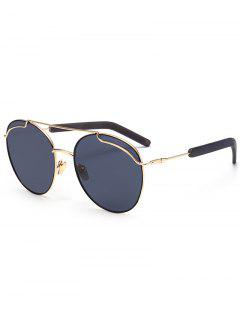 Polarized Double Metallic Crossbar Sunglasses - Gold Frame + Black Lens