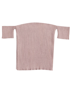 Fitted Off Shoulder Ribbed Knitwear - Nude Pink S
