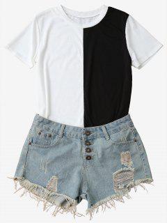T-shirt Bicolore à Manche Courte - Noir M