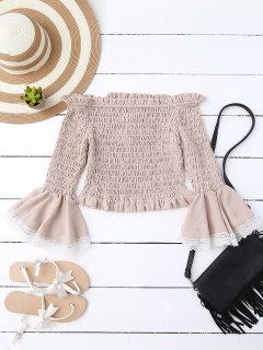 Off Shoulder Smocked Flare Sleeve Crop Top - Pale Pinkish Grey S