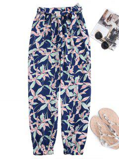 Floral Print Tapered Pants With Tie Belt - M