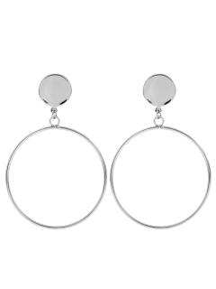 Circle Disc Drop Earrings - Silver