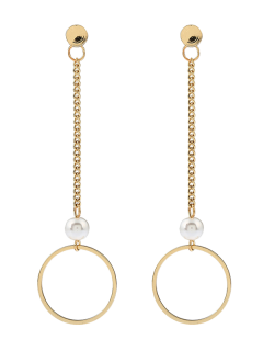 Faux Pearl Chain Circle Earrings - Golden