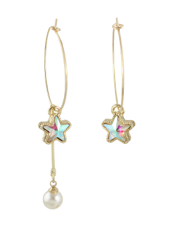 Asymmetric Faux Pearl Circle Star Earrings - Golden