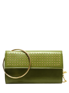 Metal Ring Rivet Clutch Bag With Chains - Green