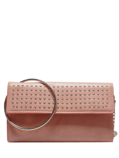 Metal Ring Rivet Clutch Bag With Chains - Pink