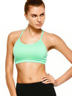 Push Up Strappy Back Sports Bra - Green M