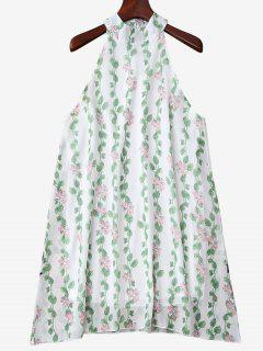 Mandarin Collar Plant Print Sleeveless Dress - Green M